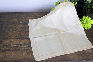 Vintage Ivory Silk Men's Handkerchief With Red And Yellow Trim