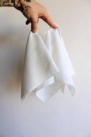 Two Vintage Men's Handkerchiefs in White Cotton