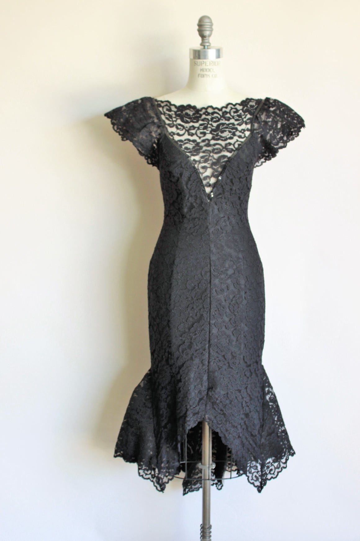 Vintage 1980s Black Lace Mermaid Wiggle Dress
