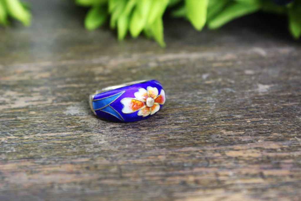 Vintage 1970s Or Earlier Silver Cloisonne Ring