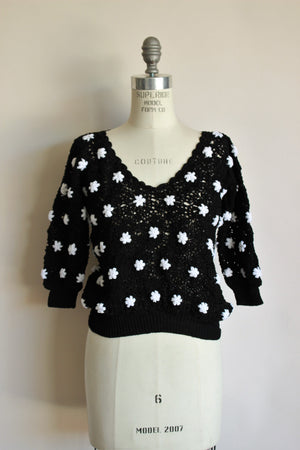 Vintaage 1980s Black Crochet Sweater
