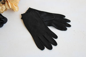 Vintage 1960s Hansen Airloom Black Gloves, Size 7
