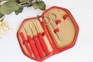 Vintage 1950s Red Leather Manicure Kit, Stellar Deluxe