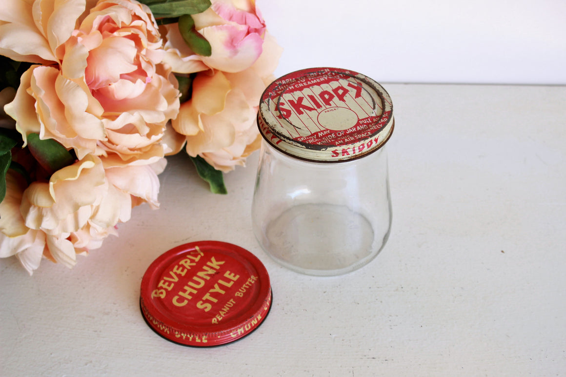 Vintage 1940s Skippy Peanut Butter Jar and Lid