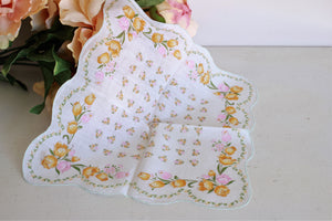 Vintage Pink and Peach Floral Cotton Hanky