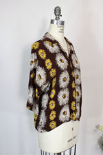 Vintage 1950s Blouse In  Brown With White And Yellow Flowers
