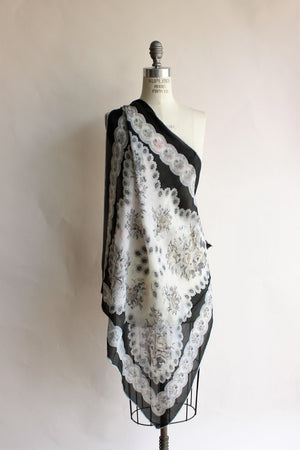 Vintage Black and White Floral Silk Scarf