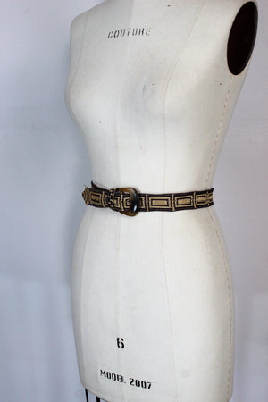 Vintage 1940s Belt In Woven Gray and Tan