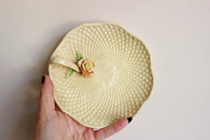 Vintage 1950s Yellow Trinket Dish with Rose