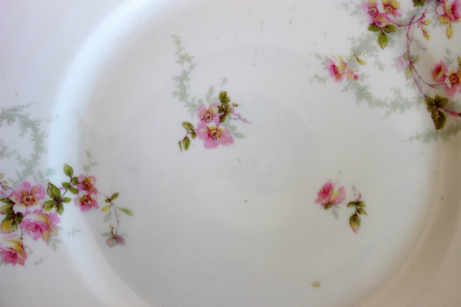Antique 1900s Theodore Havilannd Limoges Plate, Schleiger floral Pattern
