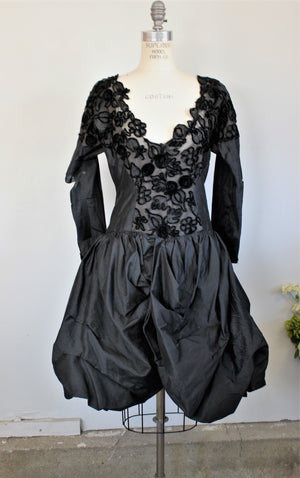 Vintage 1950s Black Fit and Flare Bubble Dress