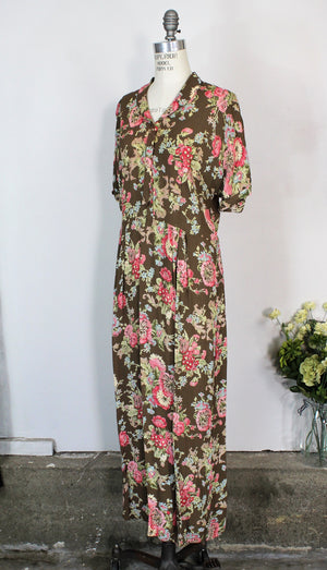 Vintage 1980s Does 1940s Floral Print Rayon Dress