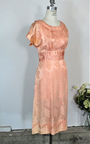 Vintage 1940s Peach Satin Fitted Dress  In a Floral Pattern