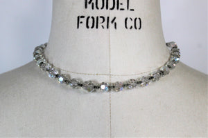 Vintage 1950s AB Crystal Bead Choker Necklace