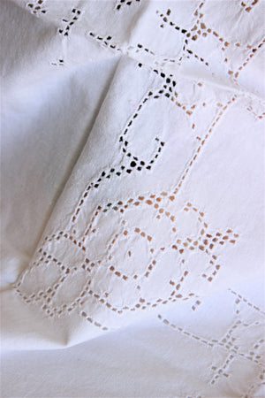 Vintage White Linen Square Tablecloth