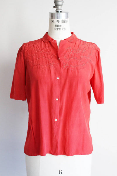 Vintage 1950s Red Silk Embroidered Blouse