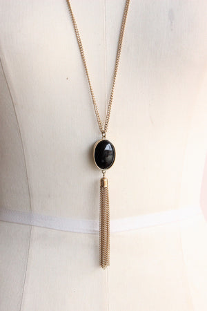 Vintage 1990s Necklace, Black Cabochon With Gold Chain Tassel
