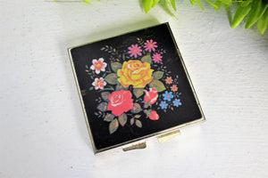 Vintage 1960s Pill Box With Floral Lid