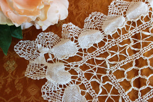 Vintage Lace Doily Or Placemat In Ivory With Crochet Hearts
