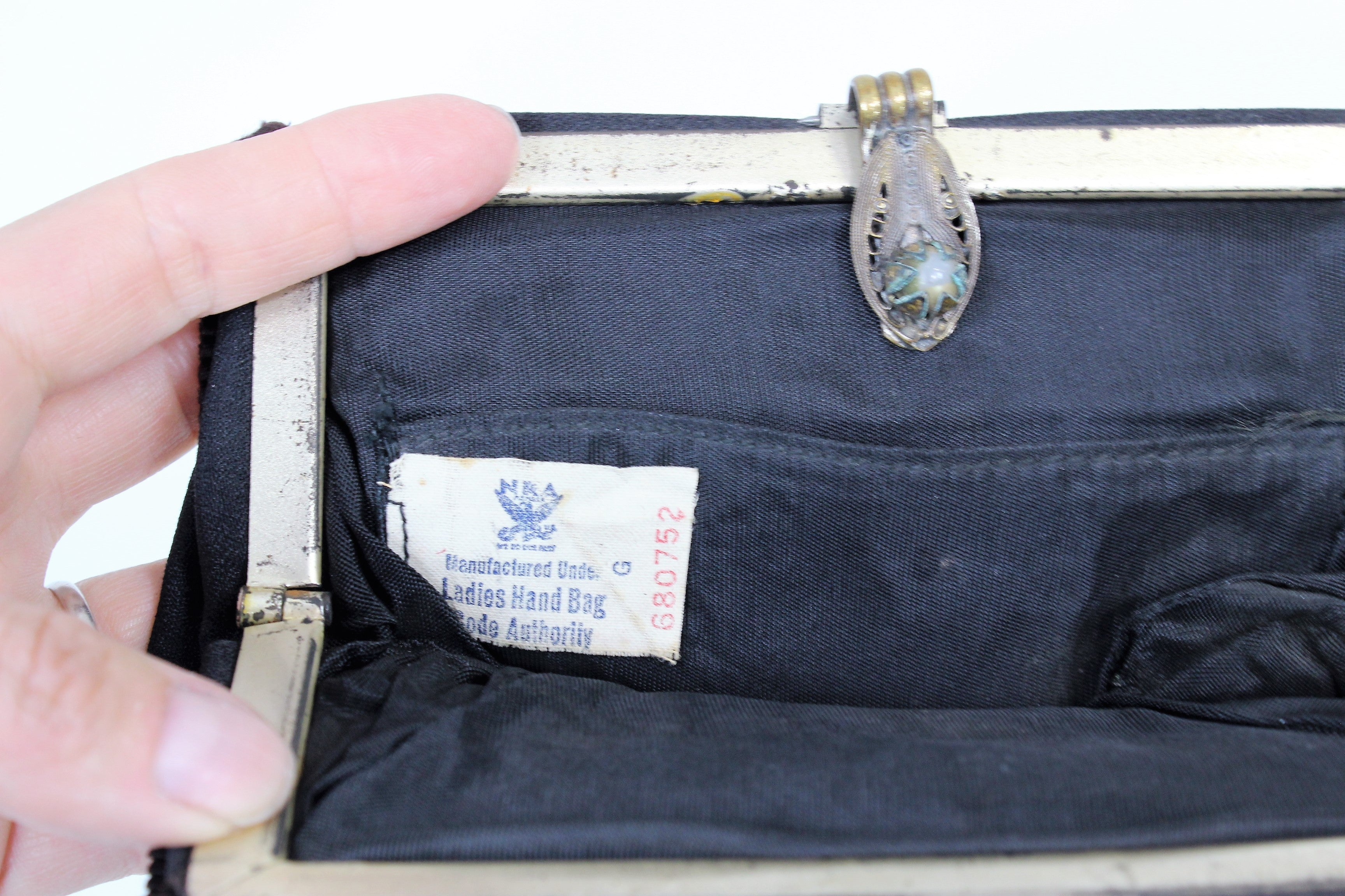 Vintage 1930s  Rare NRA Ladies Hand Bag Code Authority Black Clutch Bag Wiith Wrist Strap