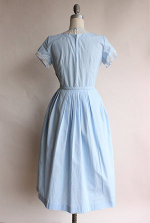 Vintage 1950s Blue Cotton Dress with White Panel