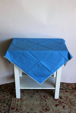 Vintage 1950s Blue Square Tablecloth