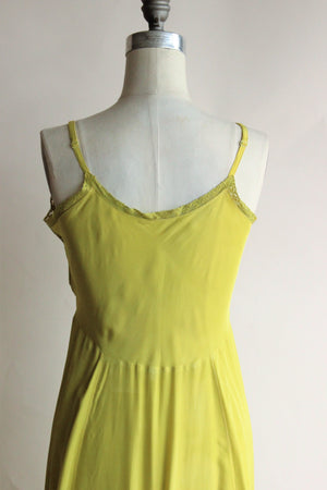 Vintage 1950s Chartreuse Green Rayon Full Slp