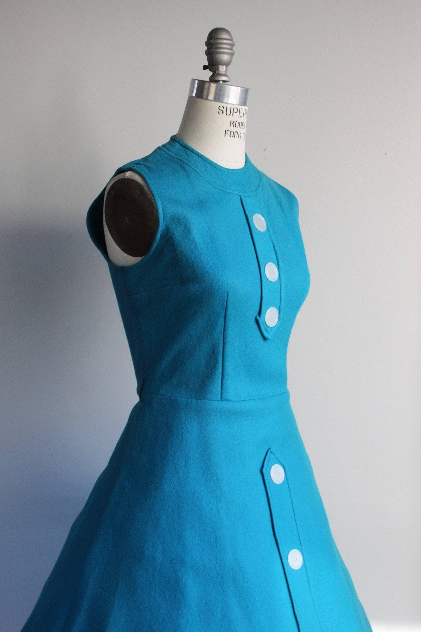 Vintage 1960s Blue Felt Dress With Oversize Buttons