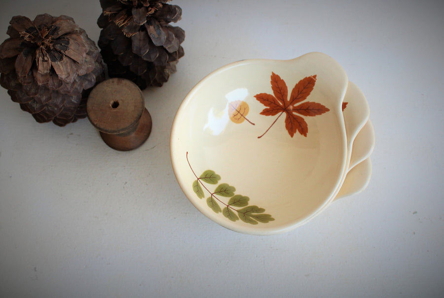 Vintage 1960s Leaf Pattern Bowls, Poppytrail by Metlox Indian Summer