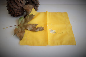 Hand Embroidered Dandelions on a Vintage Yellow Cotton Hanky