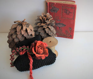 """Winter Witch"" Mini Scented Sachet With A Velvet Rose"