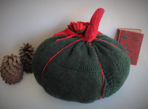 Extra Large Holiday Green Jack-o-lantern With Oversized Red Flower and Velvet Ribbon