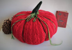 Knit Pumpkin Pillow Pouf of Holiday Red and Green
