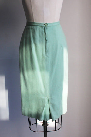 Vintage 1960s Green Wool Skirt