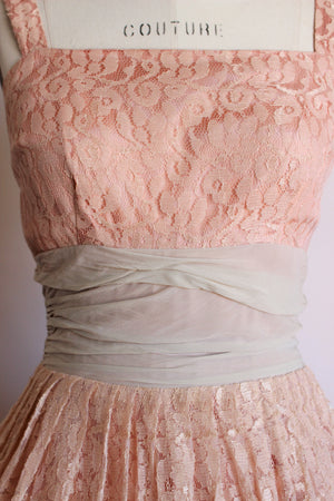 Vintage 1950s Pink Lace Dress With Chiffon