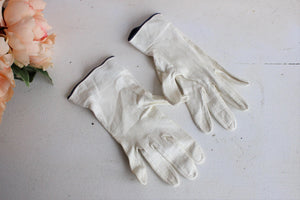 Vintage Kid Leather Gloves, White with Blue Trim and Buttons