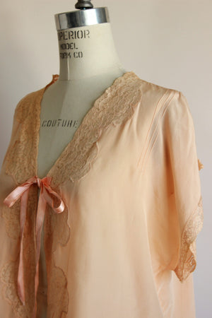 Vintage 1920s Blush Peach Silk Bed Jacket