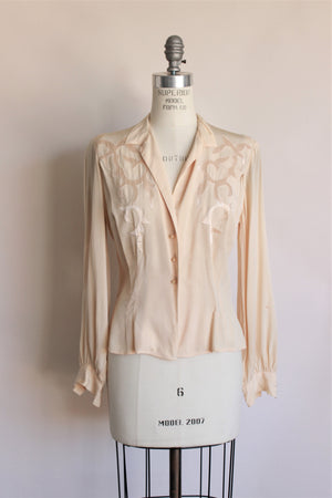 Vintage 1950s Dorthy Korby Ivory Blouse With Silk Trim