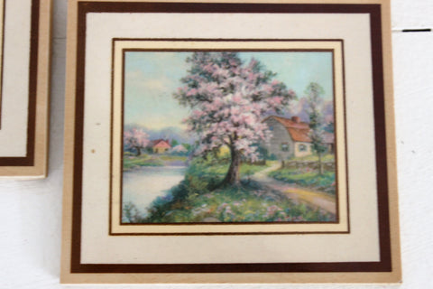 Vintage 1970s Prints on Wood Cottage Country Life Two