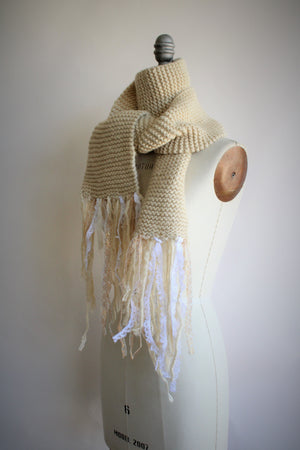 "The ""Fawn"" Cream Knit Scarf with Vintage Lace Fringe"