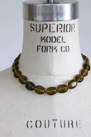 Vintage 1950s Green Glass Bead Necklace