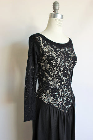 Vintage 1990s Victoria's Secret Black Nightgown With Lace Bodice