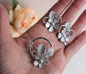 Vintage Midcentury Floral Brooch and Earrings Set