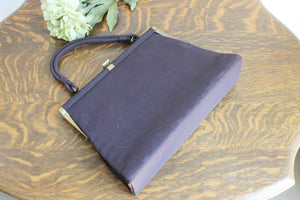 Vintage 1950s 1960s Brown Faille Dover HandBag