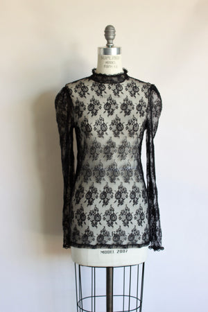 Vintage Fredericks of Hollywood Black Lace Blouse