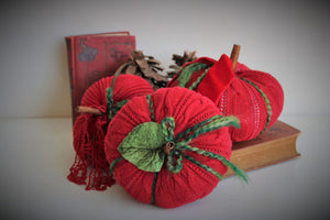 Holiday Pumpkin Pillow Pouf in Red and Green with Cinnamon Stick Stem