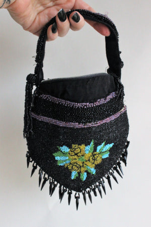 Vintage 1930s Black Beaded Purse
