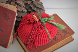 Holiday Pumpkin Pillow Pouf With Vintage Red Lace with Cinnamon Stick Stem