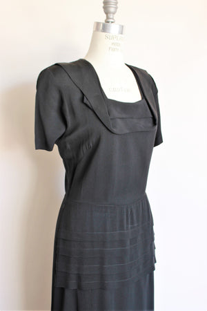 Vintage 1940s Black Rayon Dress With Square Shawl Collar
