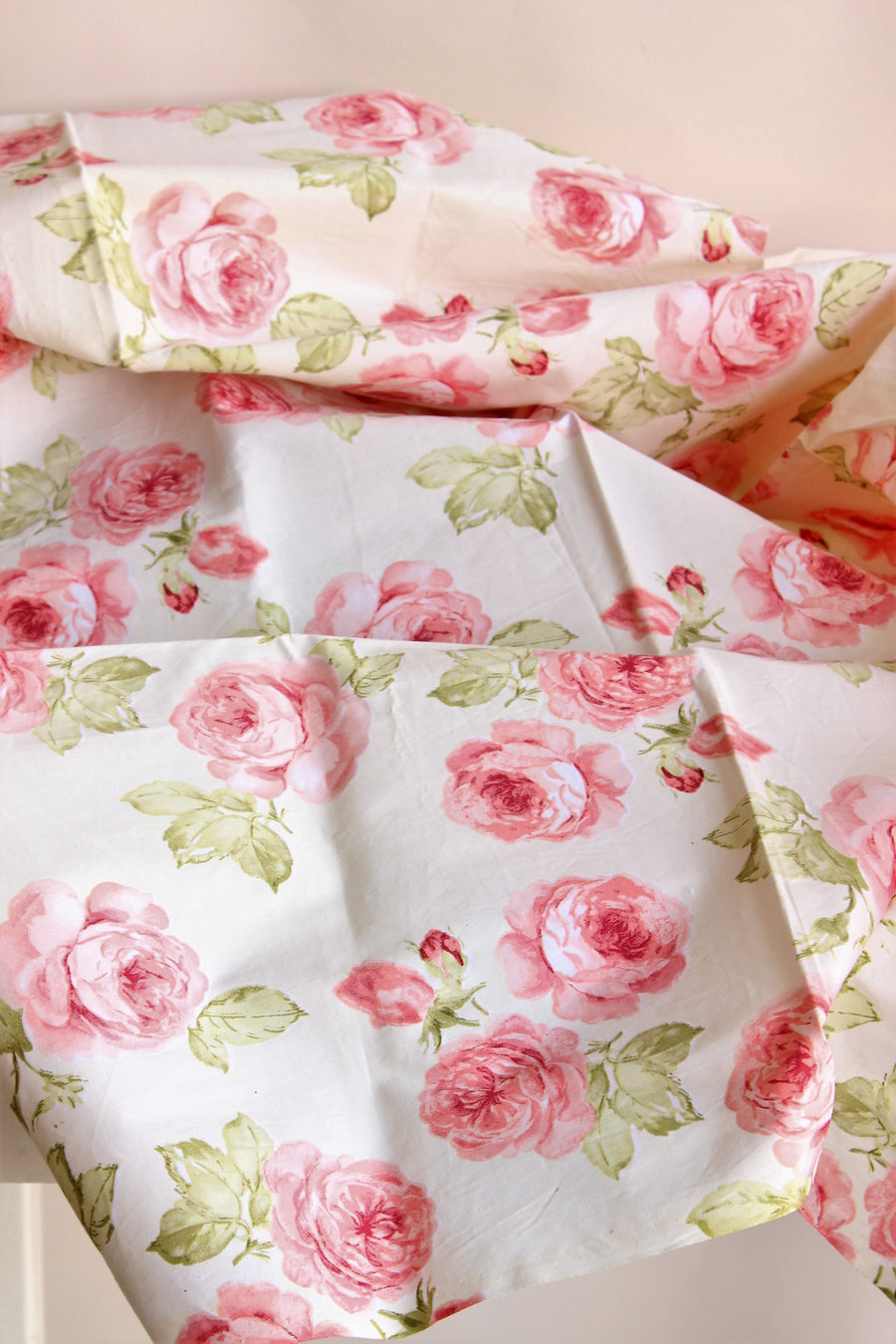 Vintage Pink Floral on Yellow Cotton Fabric
